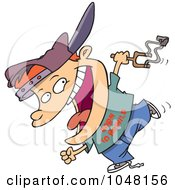 Royalty Free RF Clip Art Illustration Of A Cartoon Boy Carrying A Slingshot by toonaday