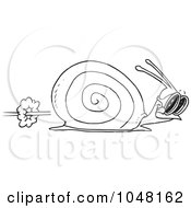 Royalty Free RF Clip Art Illustration Of A Cartoon Black And White Outline Design Of A Racing Snail by toonaday