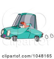 Royalty Free RF Clip Art Illustration Of A Cartoon Short Woman Driving by toonaday