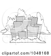 Royalty Free RF Clip Art Illustration Of A Cartoon Black And White Outline Design Of A City Skyline Against Clouds