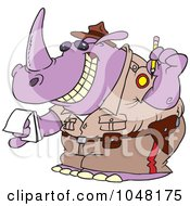 Royalty Free RF Clip Art Illustration Of A Cartoon Police Rhino Issuing A Ticket by toonaday