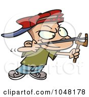 Royalty Free RF Clip Art Illustration Of A Cartoon Slingshot Boy by toonaday
