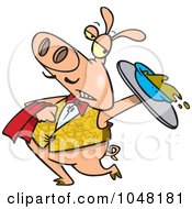 Royalty Free RF Clip Art Illustration Of A Cartoon Waiter Pig Spilling Slop by toonaday