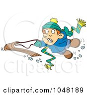Royalty Free RF Clip Art Illustration Of A Cartoon Winter Boy Falling Off His Sled