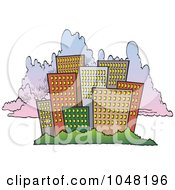 Royalty Free RF Clip Art Illustration Of A Cartoon City Skyline Against Clouds