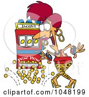 Royalty Free RF Clip Art Illustration Of A Cartoon Woman Winning The Jackpot