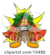 Tree Mascot Cartoon Character Dressed As A Super Hero