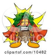 Tree Mascot Cartoon Character Dressed As A Super Hero