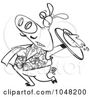 Royalty Free RF Clip Art Illustration Of A Cartoon Black And White Outline Design Of A Waiter Pig Spilling Slop by toonaday