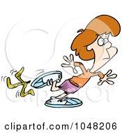 Cartoon Woman Slipping On A Banana Peel
