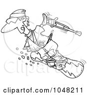 Royalty Free RF Clip Art Illustration Of A Cartoon Black And White Outline Design Of An Injured Snowboarder by toonaday