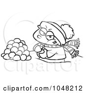 Royalty Free RF Clip Art Illustration Of A Cartoon Black And White Outline Design Of A Boy Making Snowballs For A Fight by toonaday
