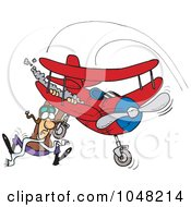 Cartoon Pilot Hanging On His Biplane