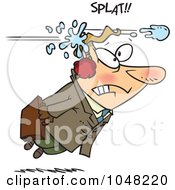Royalty Free RF Clip Art Illustration Of A Cartoon Businessman Being Hit With A Snowball
