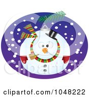 Royalty Free RF Clip Art Illustration Of A Cartoon Snowman Bauble by toonaday