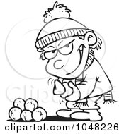 Royalty Free RF Clip Art Illustration Of A Cartoon Black And White Outline Design Of A Boy Gathering Snowballs For A Fight by toonaday