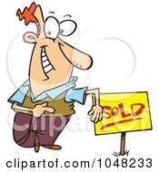 Royalty Free RF Clip Art Illustration Of A Cartoon Guy With A Sold Sign by toonaday