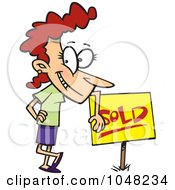 Royalty Free RF Clip Art Illustration Of A Cartoon Woman Leaning On A Sold Sign by toonaday