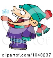 Royalty Free RF Clip Art Illustration Of A Cartoon Boy Catching Snowflakes With His Tongue by toonaday