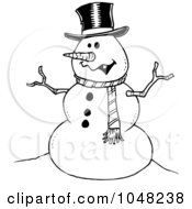 Royalty Free RF Clip Art Illustration Of A Cartoon Black And White Outline Design Of A Friendly Snowman by toonaday