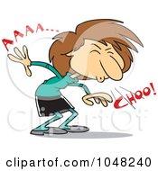 Royalty Free RF Clip Art Illustration Of A Cartoon Businesswoman Sneezing
