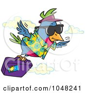 Royalty Free RF Clip Art Illustration Of A Cartoon Traveling Bird Flying With Luggage