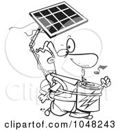 Royalty Free RF Clip Art Illustration Of A Cartoon Black And White Outline Design Of A Solar Power Guy by Ron Leishman