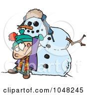 Royalty Free RF Clip Art Illustration Of A Cartoon Boy Putting A Head On A Snowman by toonaday
