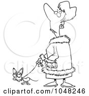 Royalty Free RF Clip Art Illustration Of A Cartoon Black And White Outline Design Of A Snotty Woman Walking Her Tiny Dog by toonaday
