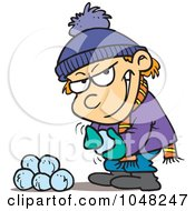 Royalty Free RF Clip Art Illustration Of A Cartoon Boy Gathering Snowballs For A Fight by toonaday