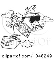 Royalty Free RF Clip Art Illustration Of A Cartoon Black And White Outline Design Of A Traveling Bird Flying With Luggage