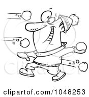 Royalty Free RF Clip Art Illustration Of A Cartoon Black And White Outline Design Of A Guy In A Snowball Fight by toonaday
