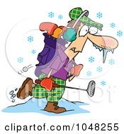 Royalty Free RF Clip Art Illustration Of A Cartoon Winter Golfer by toonaday