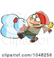 Royalty Free RF Clip Art Illustration Of A Cartoon Boy Making A Snowball For A Snowman Head by toonaday