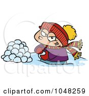 Royalty Free RF Clip Art Illustration Of A Cartoon Boy Making Snowballs For A Fight