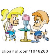 Royalty Free RF Clip Art Illustration Of A Cartoon Boy And Girl Sharing A Milkshake by toonaday
