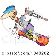 Royalty Free RF Clip Art Illustration Of A Cartoon Injured Snowboarder by toonaday