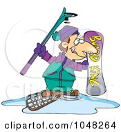 Royalty Free RF Clip Art Illustration Of A Cartoon Snow Sport Guy by toonaday