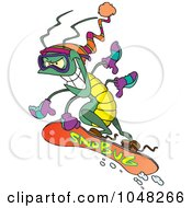Royalty Free RF Clip Art Illustration Of A Cartoon Snowboarding Bug by toonaday