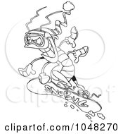 Royalty Free RF Clip Art Illustration Of A Cartoon Black And White Outline Design Of A Snowboarding Bug by toonaday