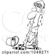 Royalty Free RF Clip Art Illustration Of A Cartoon Black And White Outline Design Of A Soaked Guy