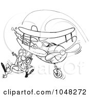 Cartoon Black And White Outline Design Of A Pilot Hanging On His Biplane