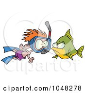 Cartoon Snorkeler Boy By A Fish