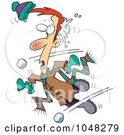 Royalty Free RF Clip Art Illustration Of A Cartoon Man Being Hit With Snowballs by toonaday