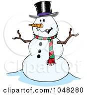 Royalty Free RF Clip Art Illustration Of A Cartoon Friendly Snowman by toonaday