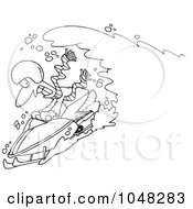 Royalty Free RF Clip Art Illustration Of A Cartoon Black And White Outline Design Of A Snow Chasing A Snowmobiling Guy