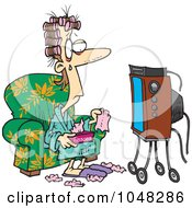 Royalty Free RF Clip Art Illustration Of A Cartoon Woman Watching A Soap Opera With Tissues by toonaday