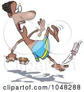 Royalty Free RF Clip Art Illustration Of A Cartoon Black Man Slipping On Soap