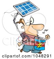 Royalty Free RF Clip Art Illustration Of A Cartoon Solar Power Guy by Ron Leishman