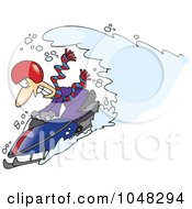 Royalty Free RF Clip Art Illustration Of A Cartoon Snow Chasing A Snowmobiling Guy